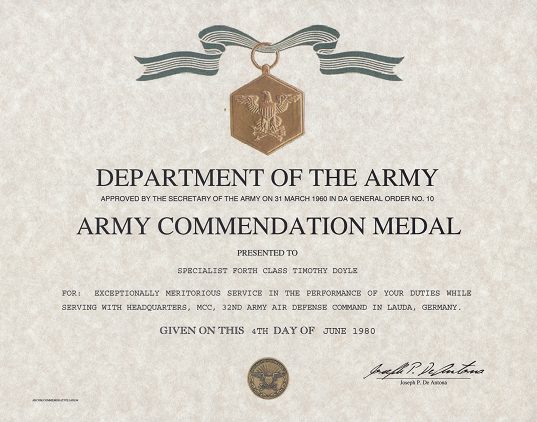 Army Achievement Medal Certificate Template