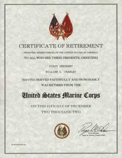 retirement certificate U.S. Marine Corps Retirement Certificate